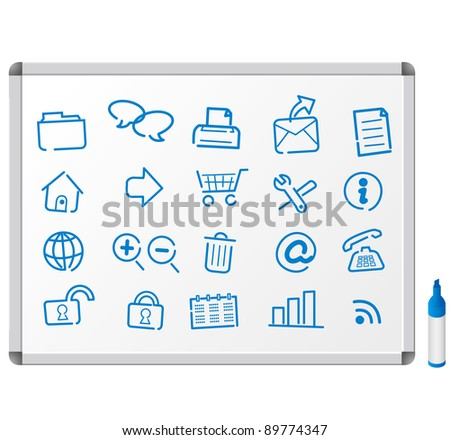Sketch icons on white board - stock vector