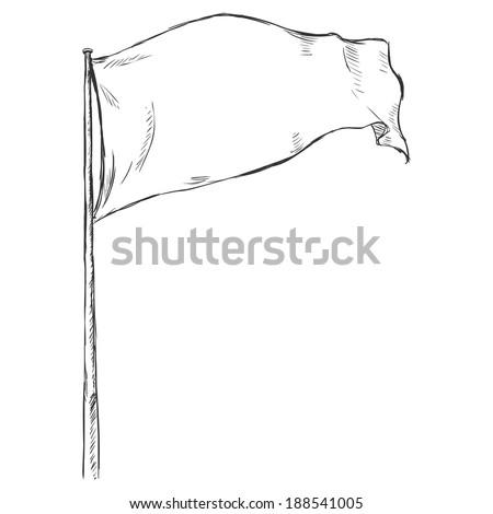 Sketch Illustration: Flag Fluttering in the Wind - stock vector