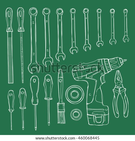 Sketch illustration objects for home repairs. Hand drawn vector elements on a green board
