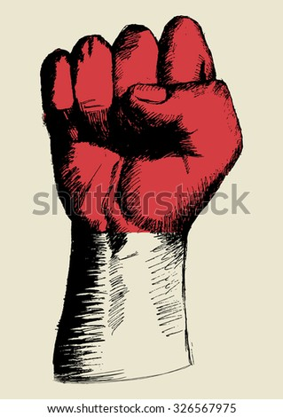 Sketch illustration of a fist with Indonesia or monaco insignia - stock vector