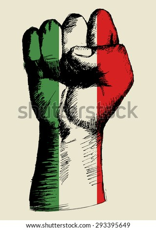 Sketch illustration of a fist with Italian insignia - stock vector