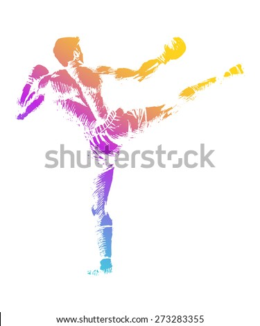 Sketch illustration of a kick boxer - stock vector