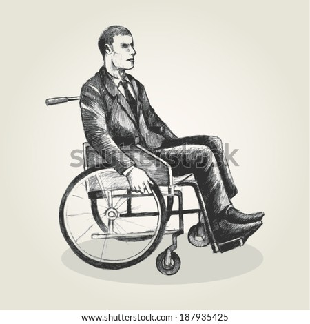 Sketch illustration of a person on wheelchair - stock vector