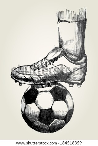 Sketch illustration of a soccer player's foot on soccer ball - stock vector