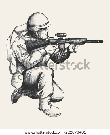 Sketch illustration of a soldier kneel down aiming a weapon - stock vector