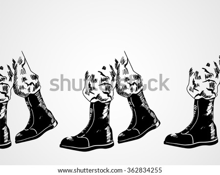 Sketch illustration of army boots lined up, marching. Invasion, war concept - stock vector