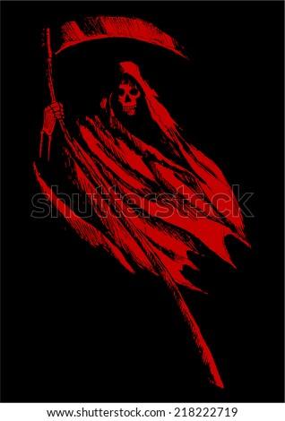 Sketch illustration of grim reaper on black background - stock vector