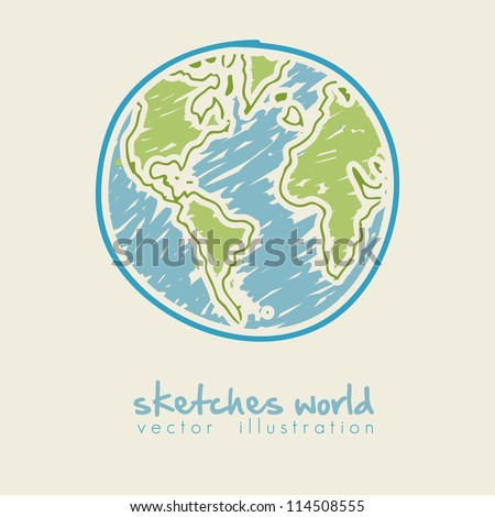 sketch illustration of planet earth, isolated on white background, vector illustration - stock vector