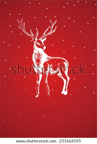 Sketch illustration of reindeer for Christmas theme
