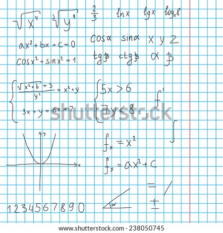 Sketch illustration with different mathematical formulas. Trigonometry, algebra, quadratic equation, graphic, system of equation and other.