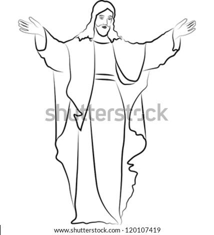 sketch Jesus Christ - stock vector