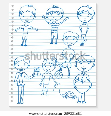 Sketch kids on a notebook  - stock vector