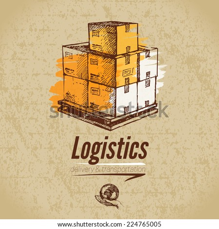 Sketch logistics and delivery poster. Cardboard background. Hand drawn vector illustration	 - stock vector