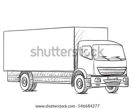 Sketch Logistics Delivery Poster Hand Drawn Stock Vector 546684277 ...