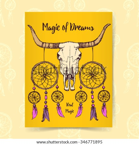 Sketch longhorn and dream catcher in vintage style, vector poster - stock vector