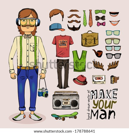 sketch male hipster set with pipe hat glasses tape and briefcase in retro style - stock vector