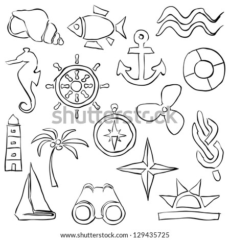 sketch marine images - stock vector