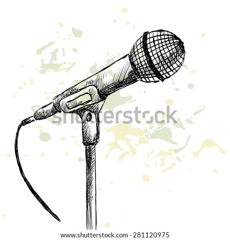 Sketch microphone on a white background with blots