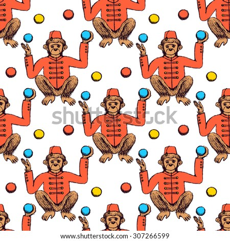 Sketch monkey juggler in vintage style, vector seamless pattern - stock vector