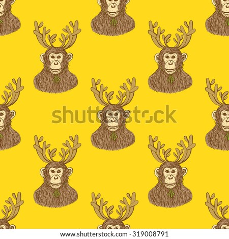 Sketch monkey with reindeer antlers in vintage style, vector New Year 2016 and Christmas seamless pattern - stock vector