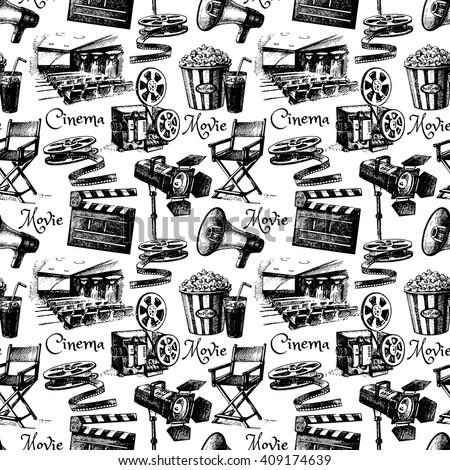 Sketch movie film cinema seamless pattern. Hand drawn vintage illustration - stock vector