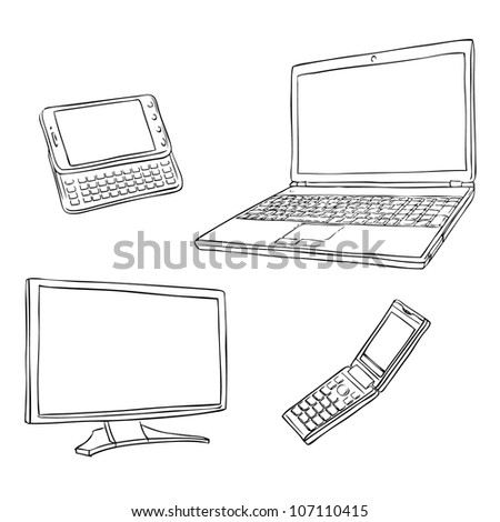 Sketch multimedia devices - stock vector
