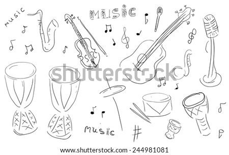 Sketch Music Instruments set - hand drawn in vector  - stock vector