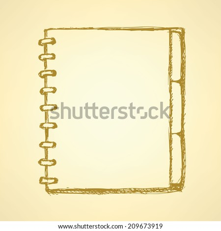 Sketch notebook with spiral, background in  vintage  style - stock vector