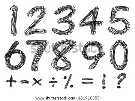 sketch numbers and mathematics symbols  - stock vector