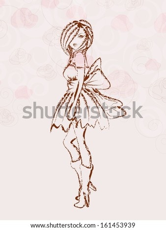 Sketch of a fashionable young girl on floral decorated background. - stock vector