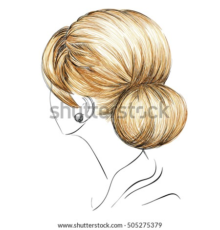 Sketch Of A Female Bun Hairstyle Freehand Vector Illustration Free Hand Drawing Fashion