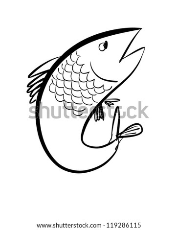 Sketch of a fish - stock vector