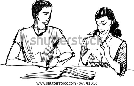 sketch of a guy and a girl reading a book at the table