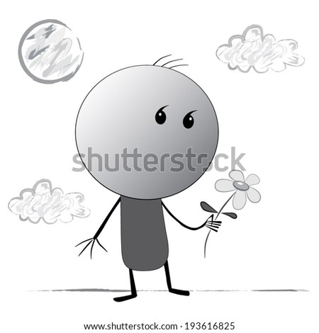 Sketch of a man with a comma instead of eyes, which is carefully holding flower stands against the backdrop of the Sun and clouds. Drawing like a child's drawing. Black, grey, white. - stock vector
