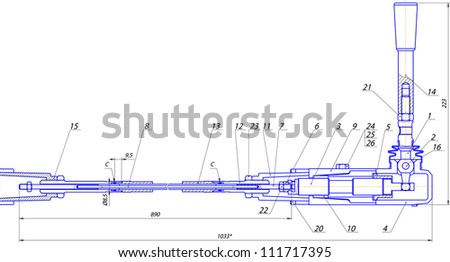 Sketch of a mechanical device. Vector EPS10