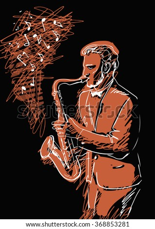 Sketch of a musician with a saxophone on a black background with orange lines.Man playing jazz on the saxophone. - stock vector