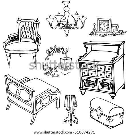 Sketch Of A Set Of Furniture And Decor, Vector Doodle For Interior Design  Indoor,