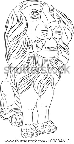 Sketch of a sitting lion