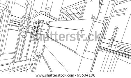 sketch of a skyscraper - stock vector
