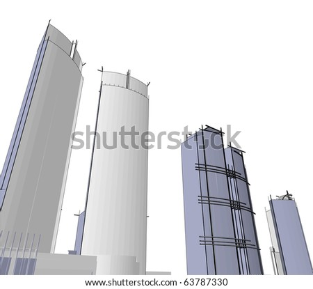 sketch of a skyscraper - stock vector