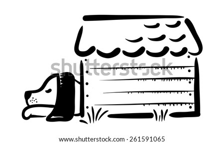 Sketch of a sleeping dog in the booth (kennel) - stock vector