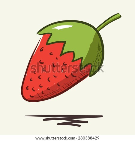 Sketch of a strawberry. Hand-drawn lineart look illustration - stock vector