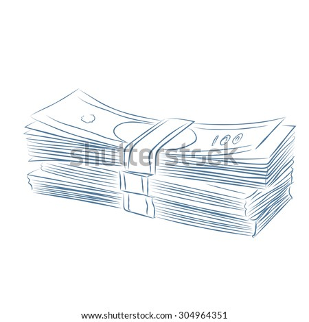 Sketch of a threes Money stack.