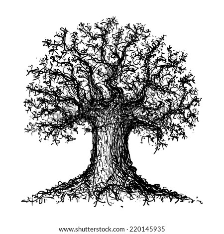 Sketch of a tree. Sketched tree.