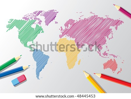 sketch of a world map with pencils and eraser - stock vector