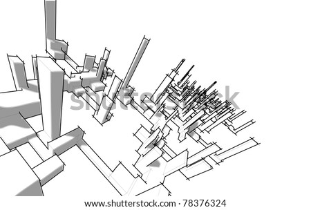 Sketch of abstract architecture - stock vector