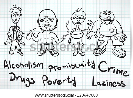 Sketch of alcoholics, drug addicts and the homeless - stock vector