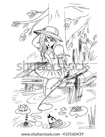 Sketch of anime girl. Vector illustration. Teen girl in a short skirt fishing in a pond. Hand drawn.