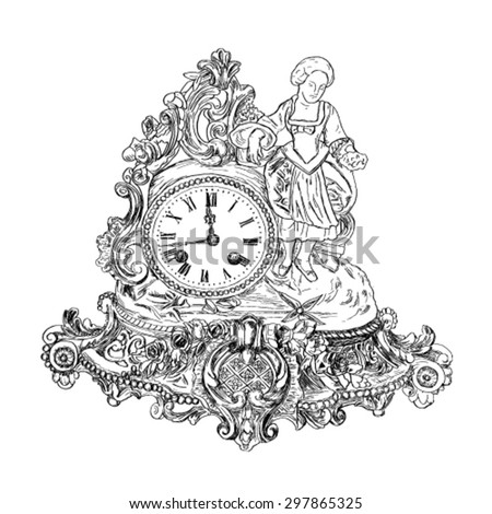 Sketch of antique clocks from nature. - stock vector