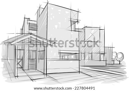 Sketch of architecture - stock vector